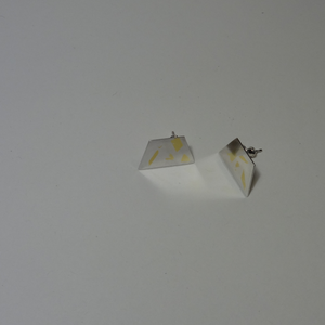 silver and gold keum-boo quad stud earrings