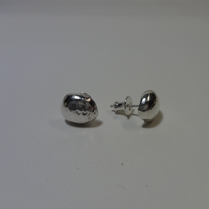silver large nugget round studs