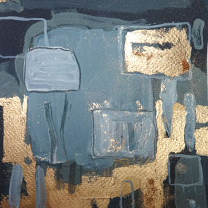blue grey gold abstract painting 3