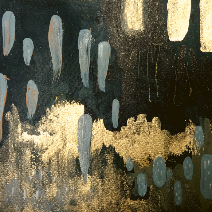 blue grey gold abstract painting 4
