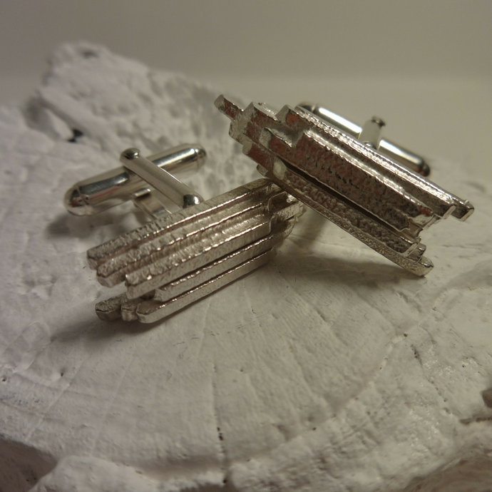 contemporary sterling silver fused bar cufflinks
