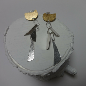 sterling silver and gold leaf Immortal dangly earrings