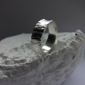 sterling silver contemporary bark ring