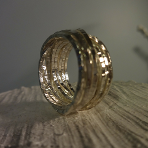 sterling silver square chunky woven statement ring