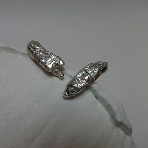 sterling silver abstract pod stud earrings