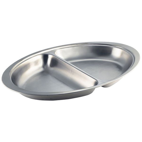 "S/St.2 Div. Oval Banqueting Dish 20"" - Euro Catering UK Ltd"
