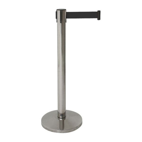 Genware Barrier Post - Retractable Black Belt - Euro Catering UK Ltd
