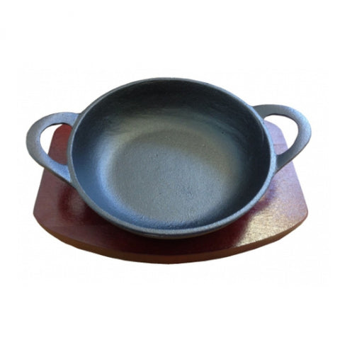 CAST IRON BALTI DISH WITH WOOD BASE