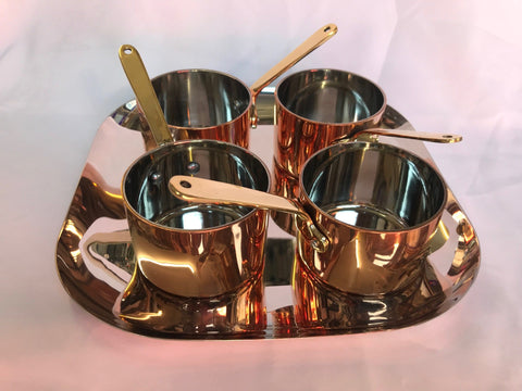 SILVER PLATED SQUARE WITH MINI COPPER PAN RELISH SET