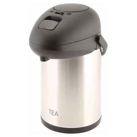 Tea Inscribed St/St Vacuum Pump Pot 2.5L