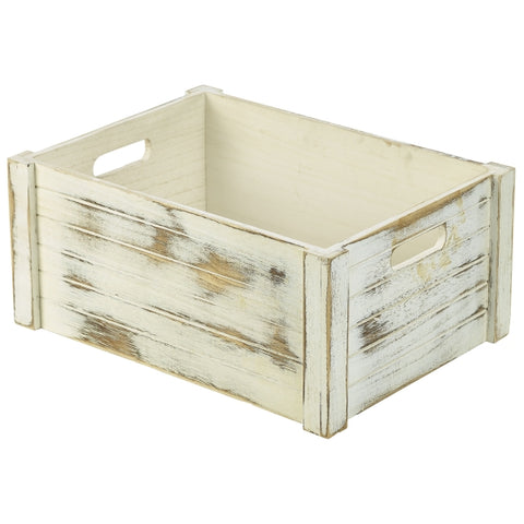 Wooden Crate White Wash Finish 41 x 30 x 18cm