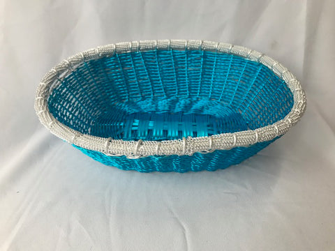 WIRE OVAL BASKET IN BLUE