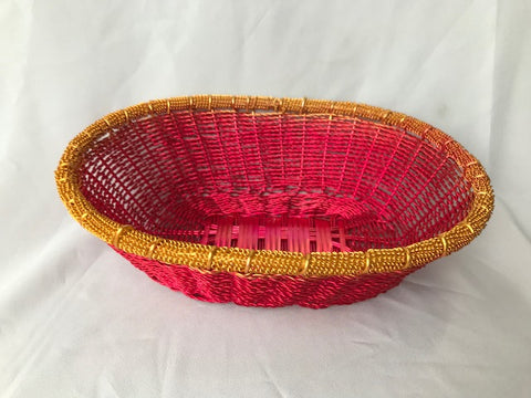 WIRE OVAL BASKET IN RED