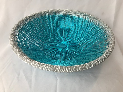 WIRE ROUND BASKET IN BLUE