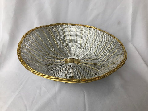WIRE ROUND BASKET SILVER AND GOLD