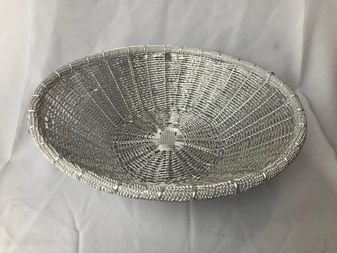 WIRE ROUND BASKET IN SILVER POLISH