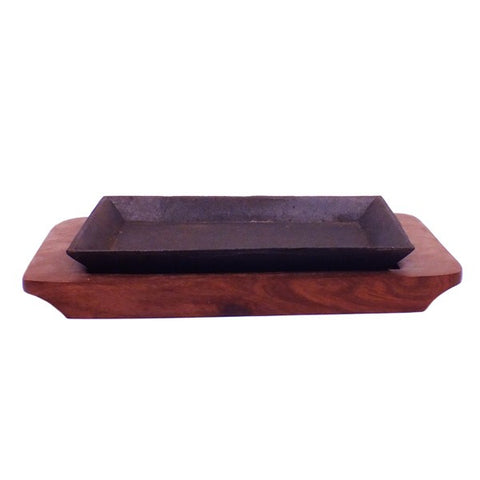 RECTANGLER SIZZLER WITH WOODEN BASE (SET) 11""