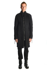 Padded Long Cut Zipped Coat