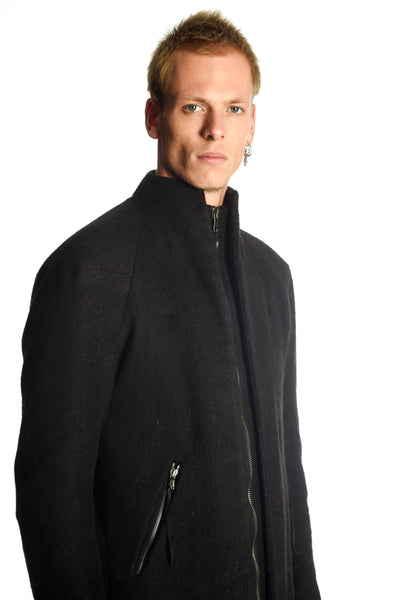 Padded Long Cut Zipped Camelwool Coat — 1 of 1