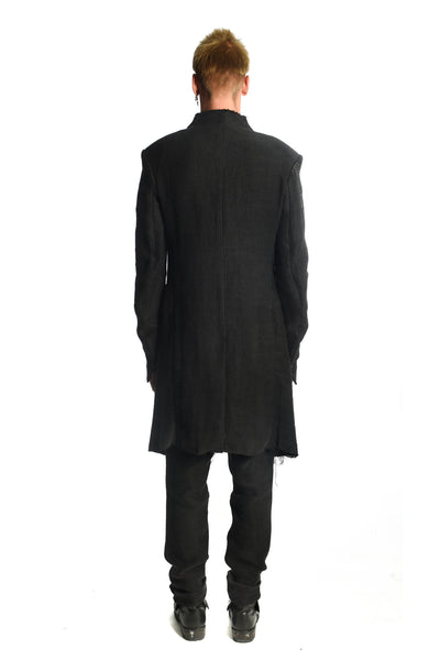 Flanders Linen Long Raw Collar Blazer