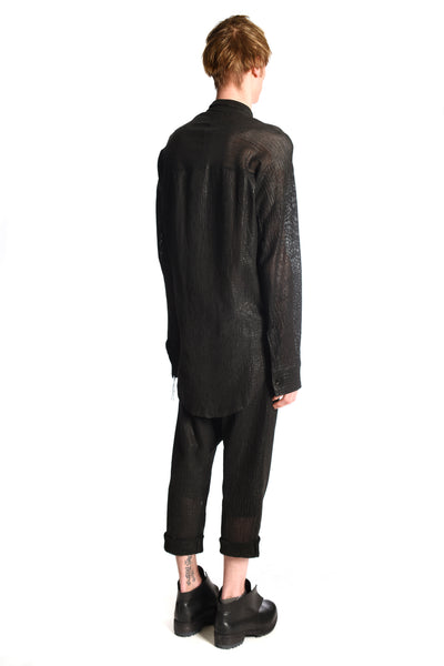 Leather Perforated Kimono Curved Shirt