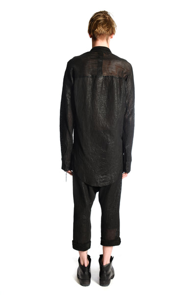 Leather Perforated Kimono Curved Shirt — last one