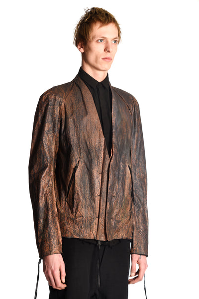 Oxidized Copper Zipped Lapel Bomber