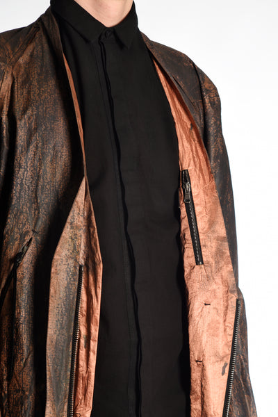 Oxidized Copper Zipped Lapel Bomber — 1 of 1