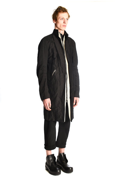 Long Cut Zipped Coat
