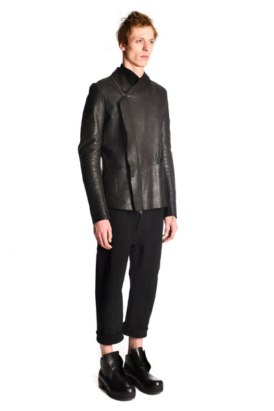 Assymetric Guidi Leather Biker Jacket
