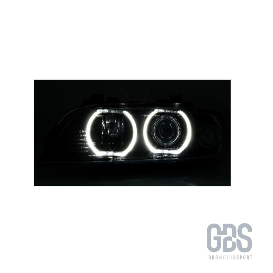 Phares Angel Eyes LED BLANC BMW Série 5 E39 Phase 1 ampoule H7/ H7