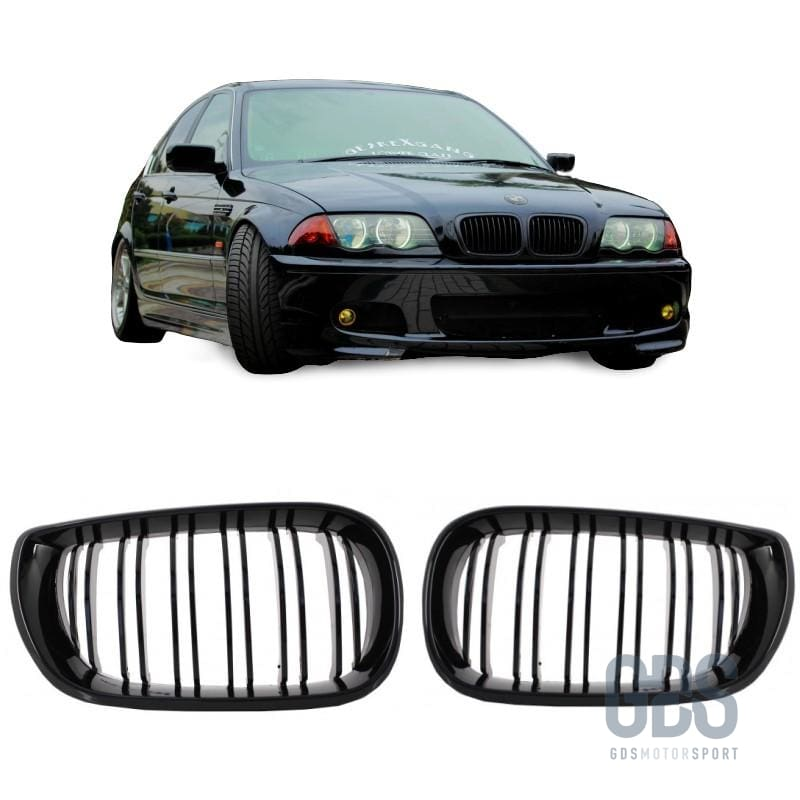 2 Grilles de Calandre Double Lame Noir Brillant Bmw Serie 3 E46 Ph1 de 1998 a 2001 Berline / Touring - Calandres