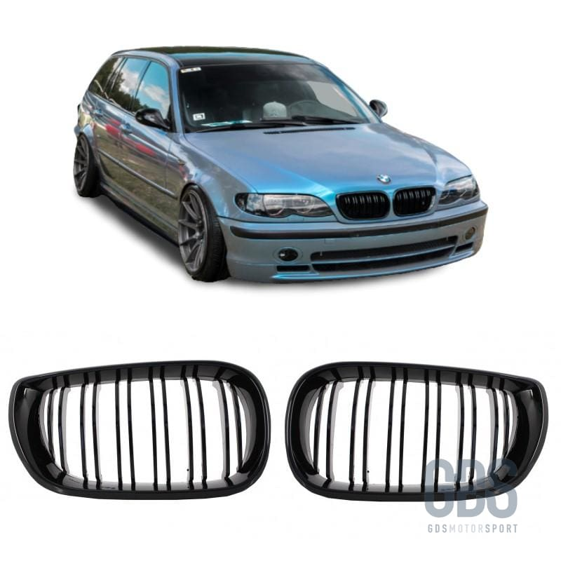 2 Grilles de Calandre Double Lame Noir Brillant Bmw Serie 3 E46 Ph2 de 2001 a 2005 Berline / Touring - Calandres