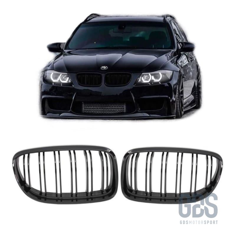 2 Grilles de Calandre Noir Brillant Double Lame Bmw Série 3 E90 Berline /e91 Touring Ph2 Lci de 2008 a 2012 - Calandres