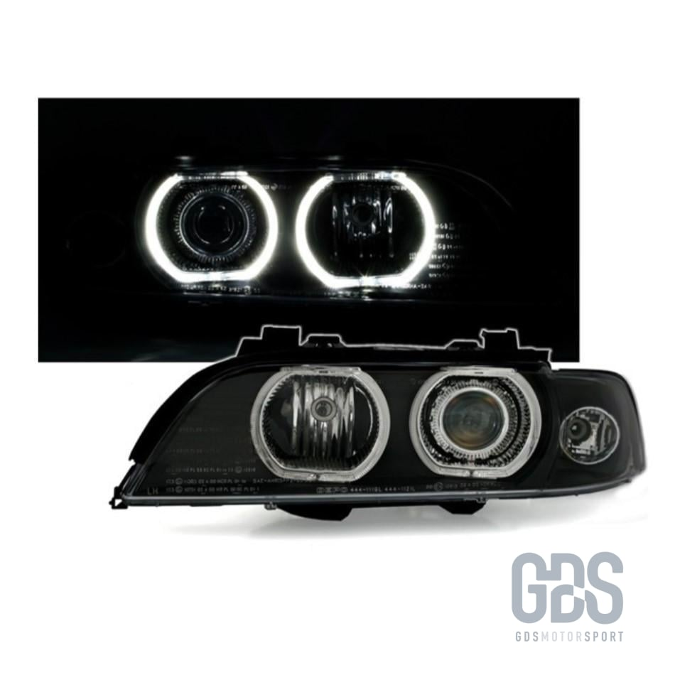 Phares Angel Eyes LED BLANC BMW Série 5 E39 Phase 1 Halogène H7/ H7