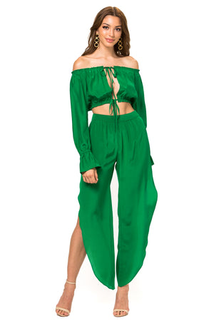 Jennifer Hope Clothing Silk Cali Off Shoulder Crop Top in Kelly Green