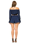 Jennifer Hope Clothing Silk Cali Off Shoulder Crop Top in Navy Blue