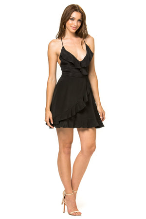 Jennifer Hope Clothing Silk Sammy Ruffle Mini Dress in Black