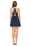 Jennifer Hope Clothing Silk Sammy Ruffle Mini Dress in Navy Blue