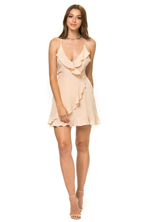 Jennifer Hope Clothing Silk Sammy Ruffle Mini Dress in Nude
