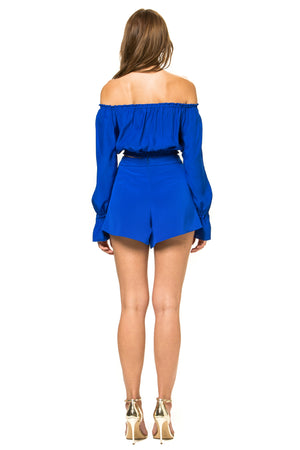 Jennifer Hope Clothing Silk Cali Off Shoulder Crop Top in Cobalt Blue