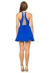 Jennifer Hope Clothing Silk Sammy Ruffle Mini Dress in Cobalt Blue