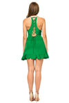 Jennifer Hope Clothing Silk Sammy Ruffle Mini Dress in Kelly Green