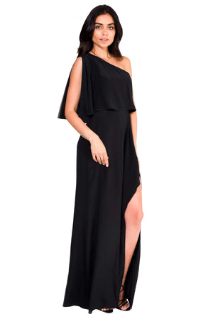 Jennifer Hope Clothing Silk Bella One Shoulder Maxi Dress in Black