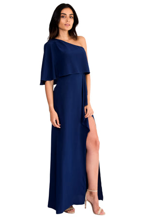 Jennifer Hope Clothing Silk Bella One Shoulder Maxi Dress in Navy Blue