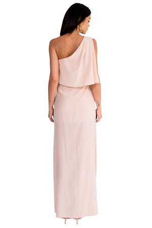 Jennifer Hope Clothing Silk Bella One Shoulder Maxi Dress in Blush