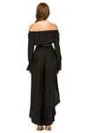 Jennifer Hope Clothing Silk Cali Off Shoulder Crop Top in Black