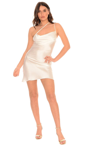 Jennifer Hope Clothing Silk Bad Gyal Slip Dress Asymmetrical Mini Dress in White