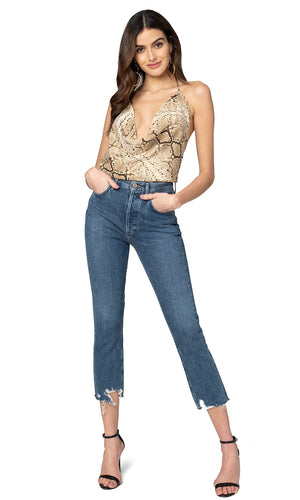 Jennifer Hope Clothing Silk Naya Open Back Halter Top in Snakeskin