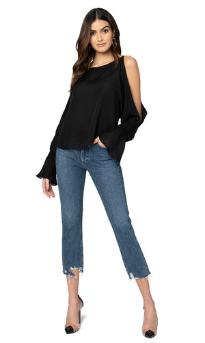 Jennifer Hope Clothing Silk Sherry Blouse Top in Black